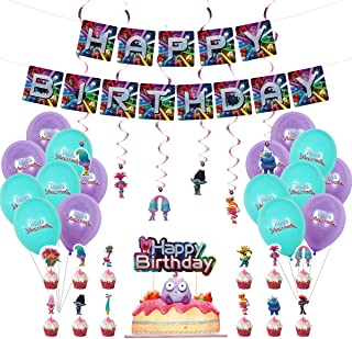 Trolls Birthday Party Supplies for Trolls Decorations Include Cake Topper,Cupcake Toppers, Banner, Balloons, Swirls Decora...