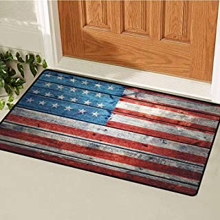 RelaxBear Rustic American USA Flag Inlet Outdoor Door mat July Independence Day Weathered Antique Wooden Looking National Celebration Image Catch dust Snow and mud W29.5 x L39.4 Inch