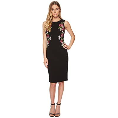 Adrianna Papell Knit Crepe Embroidered Sheath (Black) Women