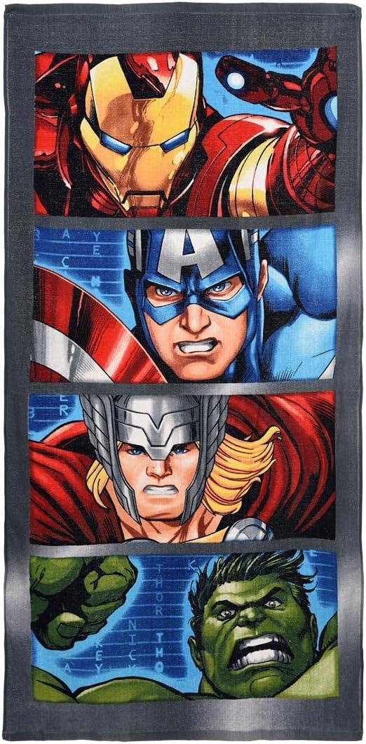 Disney Marvel Avengers Kids 27 by 55 Inch Bath Indoor Outdoor Towel Grey