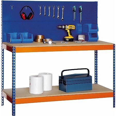 Banco de Trabajo BTP/1500 Panel Portaherramienta metálico superior. Med. 1500 x 1500 x 600 mm. Capacidad de Carga 600 kgs.