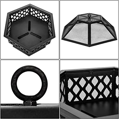"Outdoor Fire Pit,27.5"" Firepit Table BBQ Grill Backyard Patio Stove Wood Burning Fire Bowl Chiminea w/Mesh Spark Screen & Poker for Backyard,Camping,Picnic,Bonfire,Garden - Hexagonal Shaped,Black"