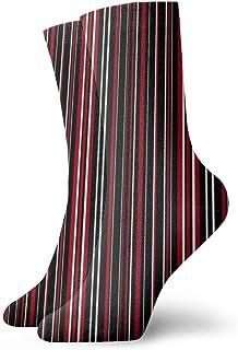 黒、濃い赤、および白のバーコードファッショナブルなカラフルなファンキー柄コットンドレスソックス11.8インチ