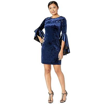Laundry by Shelli Segal Reversible Velvet Dress with Drama Sleeves (Black/Navy) Women