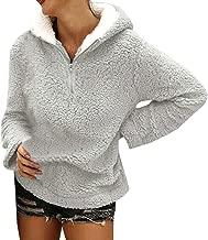 iHHAPY Women's Plush Sweatshirt Winter Hoodie Faux Fleece Tops Long Sleeve Coat Leisure Sweatshirts Fashion Streetwear
