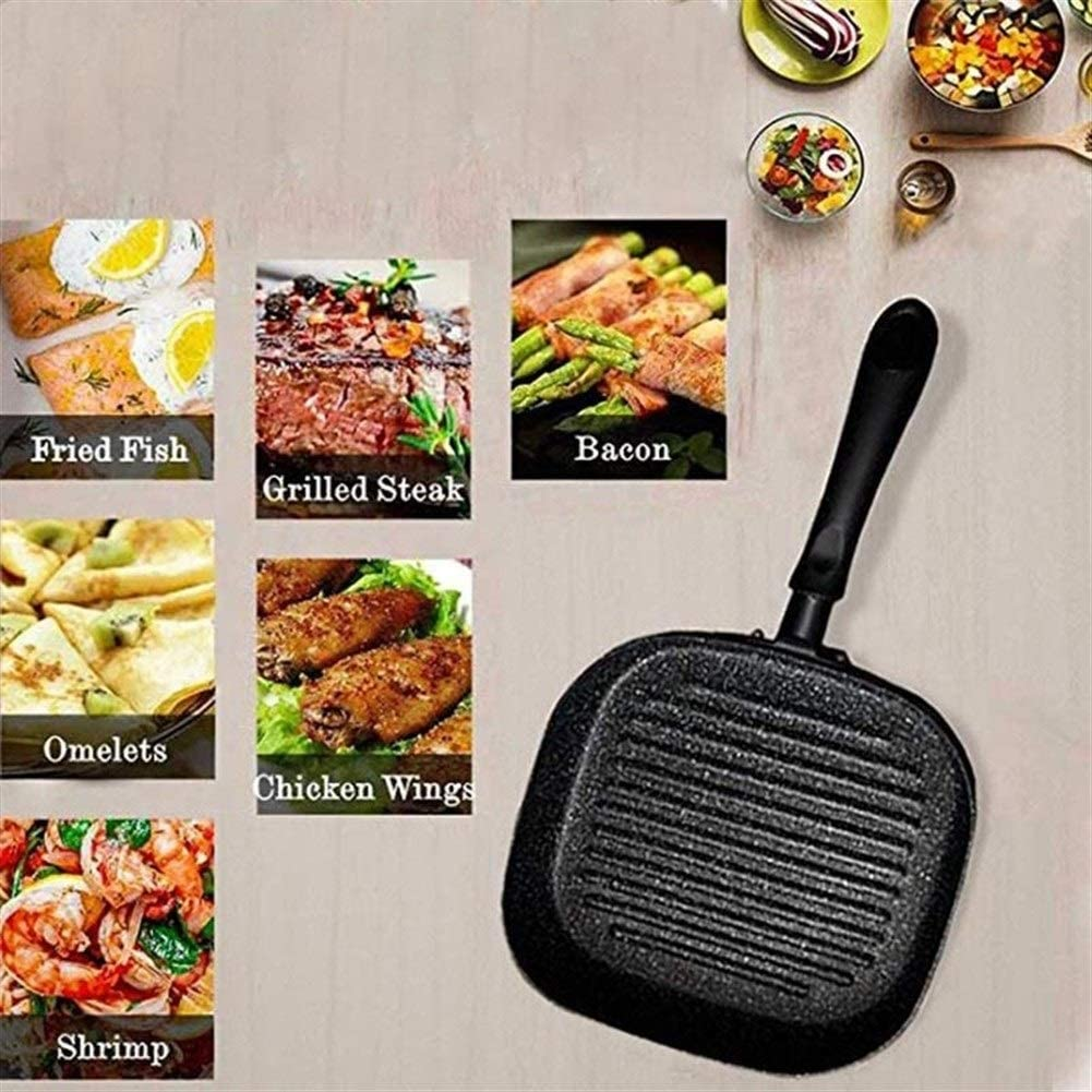 Haute qualité 9 po en aluminium anti-adhésif carré Grill Pan Steak Poêles à frire multi-fonction flocon de neige rayé Frying Pan casserole (Color : Black) Black