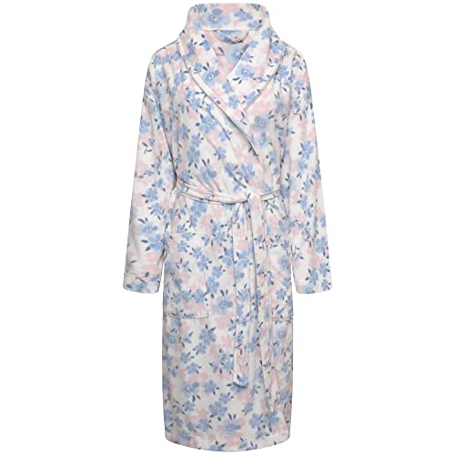 ff358cdef12 Ladies Soft Fleece Wrapover Dressing Gown. Ivory Pink Blue Floral. Sizes 8