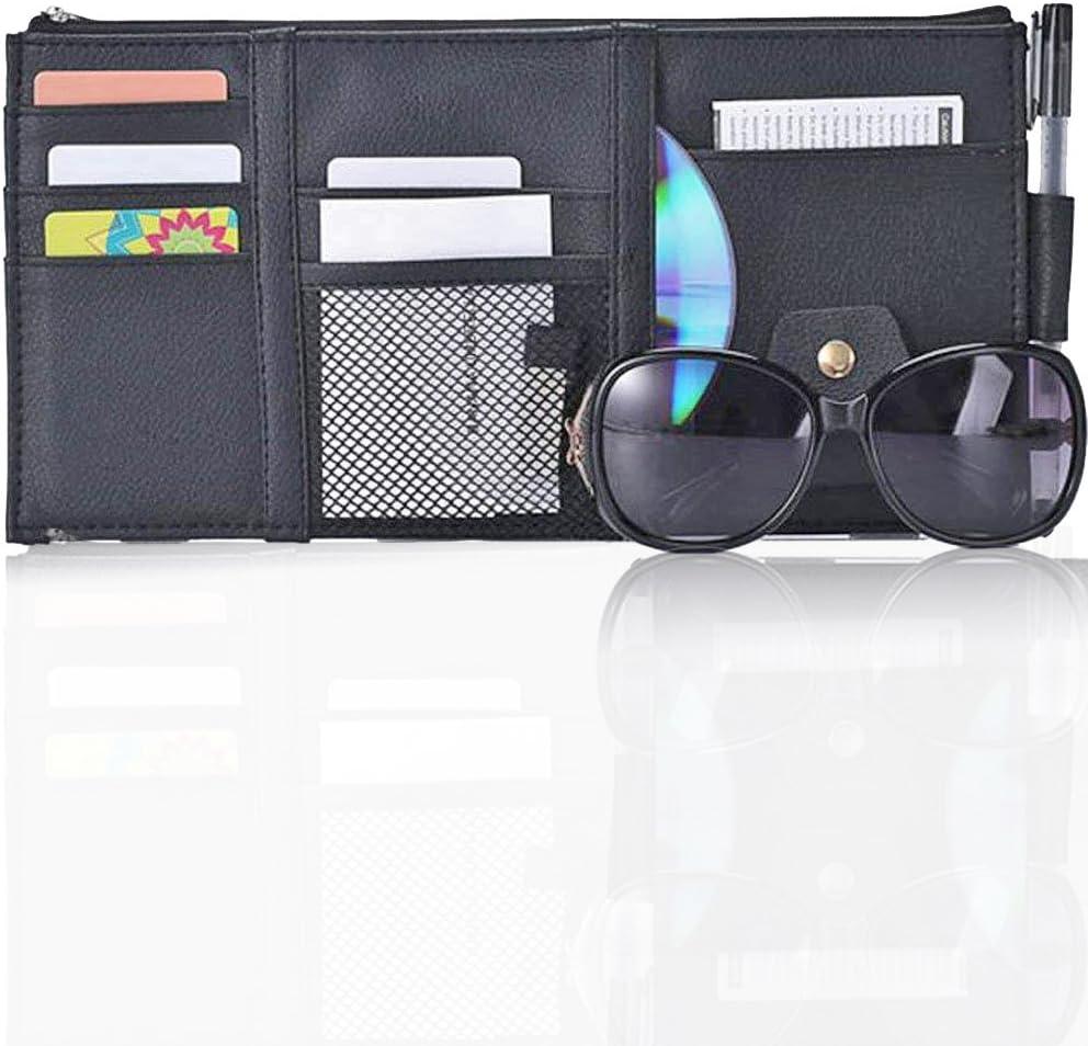 Sonnenbrillen-Clip CD-Karten Aufbewahrungstasche grau Handyhalter Multifunktionaler Auto-Sonnenblenden-Organizer aus Leder mit Rei/ßverschluss Stifte