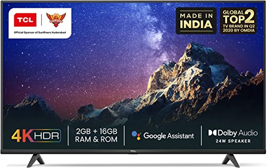 TCL 108 cm (43 inches) 4K Ultra HD Certified Android Smart LED TV 43P615 (Black) (2020 Model) | With Dolby Audio 1