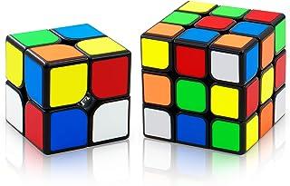 XMD パズルセット 2個入り 2x2 3x3 Magic Cube Set 競技用 【6面完成攻略書付き】 世界基準配色 ver3.1 ポップ防止 FAVNIC 魔方 脳トレ 知育玩具 (ステッカー)
