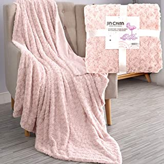 jinchan Throw Blanket Blush Pink Soft Girls Dimensional Rose Design Comfy Microfiber Home Furnishing Living Room Bedroom Couch Chair Cozy Fuzzy Gift 50x60 Inch Teenager Kids