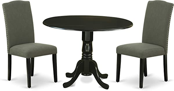 East West Furniture DLEN3 BLK 20 3Pc Round 42 Inch Dining Table 9 Inch Drop Leaves And Two Parson Chair With Black Leg And Linen Fabric Dark Gotham Grey 3