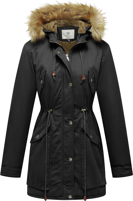 WenVen Women's Winter Thicken Fleece Jacket Fur Hooded Military Parka Coat