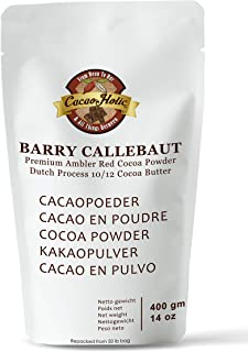 Barry Callebaut Ambler Premium Red Cocoa Powder | 10/12% Cocoa Butter | Cacaoholic Resealable Stand Up Pouch | Dutch Process Alkalized | 14 Ounce - 400 Grams