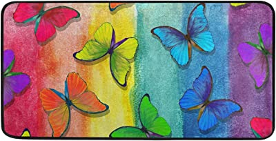 Kitchen Rug Colors of Rainbow Butterflies Door Mat Bath Rug Home Decor Floor Mat Non-Slip Carpet for Kitchen Living Bedroom 39 x 20 Inch