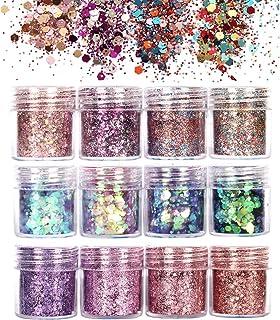 GCOA 12 Boxen Glitzer Für Gesicht Körper Glitzer, Glitzer Sequin Chunky Glitter für Gesicht Nägel Augen Lippen Haare Körper, Make-Up Glitzer Paillette10ML