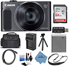 Canon PowerShot SX620 HS Wi-Fi Digital Camera (Black) with 64GB Card + Case + Battery + Charger + Flex Tripod + HDMI Cable + Extreme Electronics Cloth