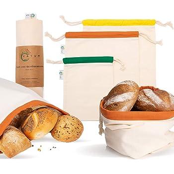 Obst und Gemüsenetz Beutel Bäcker Brot verpackungsfrei einkaufen Zugband