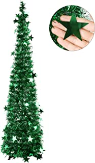 FunPa Pop Up Tinsel Xmas Tree 3.94FT Artificial Christmas Tree DIY Folding Tinsel Xmas Accessories for Kids DIY Xmas Home Office Classroom Store Party Decoration