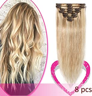 20 Inch Clip in Hair Extensions Remy Human Hair Thin Standard Weft 8 Pcs Clip on Human Hairpieces Highlighted Silky Straight Hair for Women Beauty Balayage #18/613 Ash Blonde Mix Bleach Blonde