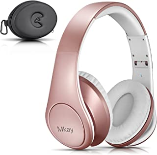 Bluetooth Headphones Over Ear, Mkay Wireless Stereo Headset Bluetooth V4.2 with Deep Bass, Foldable & Lightweight, Perfect for Cell Phone/TV/ PC and Travelling (Rose Gold)