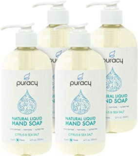 Puracy Natural Liquid Hand Soap, Citrus & Sea Salt, Sulfate-Free Gel Hand Wash, 12 Ounce (4-Pack)