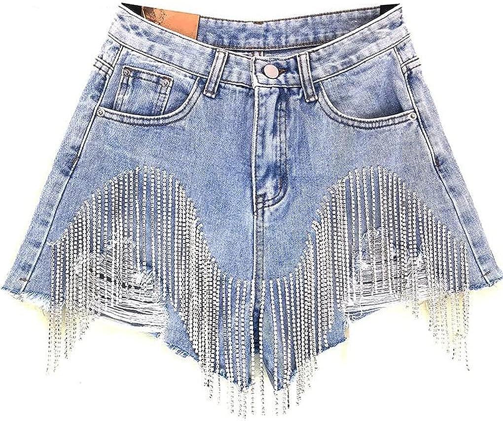 Summer Diamond Tassels Denim Shorts Women High Waist Jeans Shorts