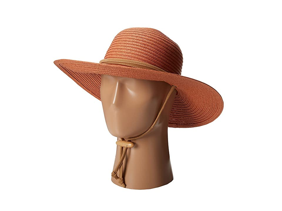 San Diego Hat Company PBL3016 Large Brim Chin Cord Paper Braid Floppy (Rust) Traditional Hats, Red