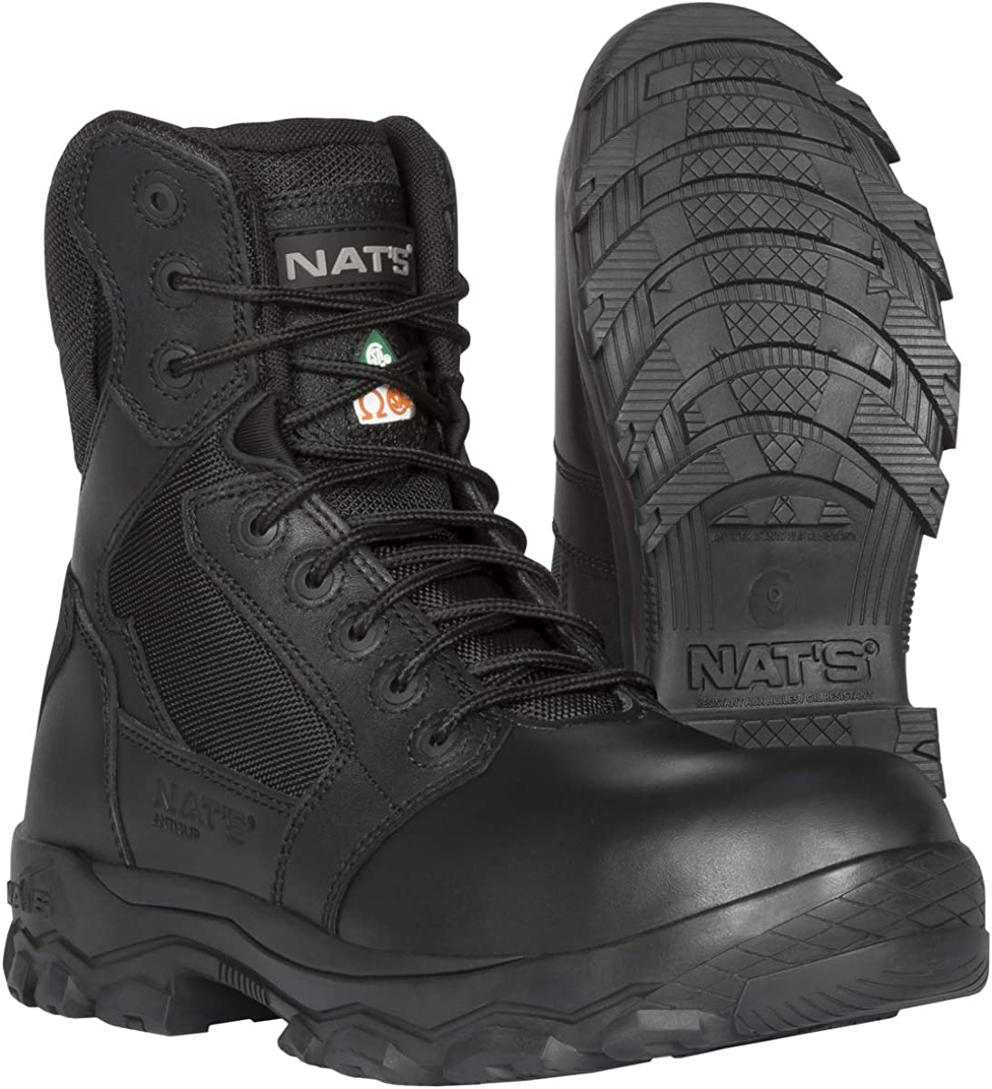 NAT'S S885 - Tactical Boots for Men with Zipper - Slip Resistant Work Boots for Men with Steel Toe - Safety Boots Light Wiehgt (1.8 lbs) - CSA and Dielectric Approved for Heavy Duty Work