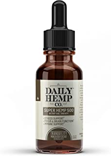 Daily Hemp Co. Super Hemp Oil, Cacao (Chocolate) Flavor, Hemp Extract Drops, for Pain Relief, Anti Anxiety, Anti-Inflammatory, Stress Relief, Helps with Sleep, Skin and Heart Health, 1 Fl Oz. (30 ml)