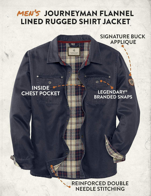 Legendary Whitetails Men's Journeyman Flannel Lined Rugged Shirt Jacket: Clothing