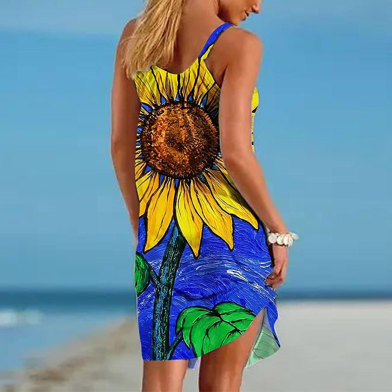 EZ Tuxedo Women's Casual Beach Sundress Sleeveless O Neck Loose Print Suspender Tank Dress