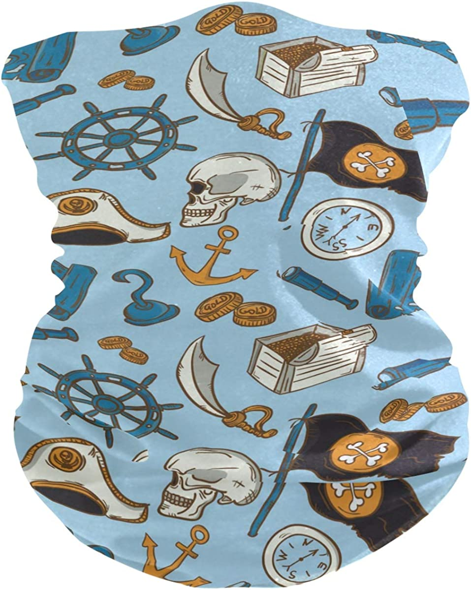Face Mask Bandana for Women Men, Pirate Pattern Neck Gaiter Balaclava Face Cover Sun Dust Mask Magic Scarf Headwear