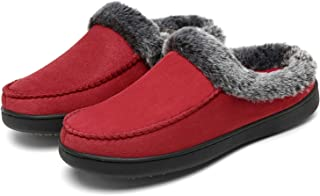 Mishansha Womens Comfy Moccasin Slippers Fuzzy Warm Fleece Lining House Shoes with Anti-Skid Indoor/Outdoor Rubber Sole