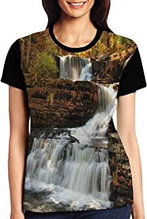 Women's T Shirts,Upper Falls at Delaware Water Gap Autumn Nature Forest Scenery Cascade