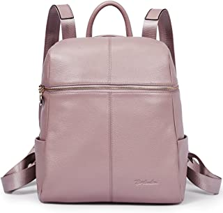 BOSTANTEN Genuine Leather Fashion Backpack Corssbody School Bags for Women Girls Pink