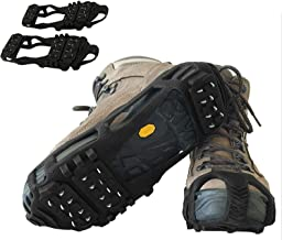 LightbyBox Ice Grips Traction Cleats Snow Grippers Non-Slip Over Shoe Rubber 24 Spikes Crampons Anti Slip Stretch Footwear...