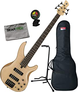 $649 Get Yamaha TRBX605 5-String Flamed Maple Natural Satin Bass Guitar Bundle