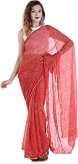 Women`S Pure Crepe Bhandej Printed Saree With Blouse