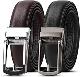 2 Pack Leather Ratchet Dress Belt for Men Perfect Fit Waist Size up to 44 inches with Automatic Buckle