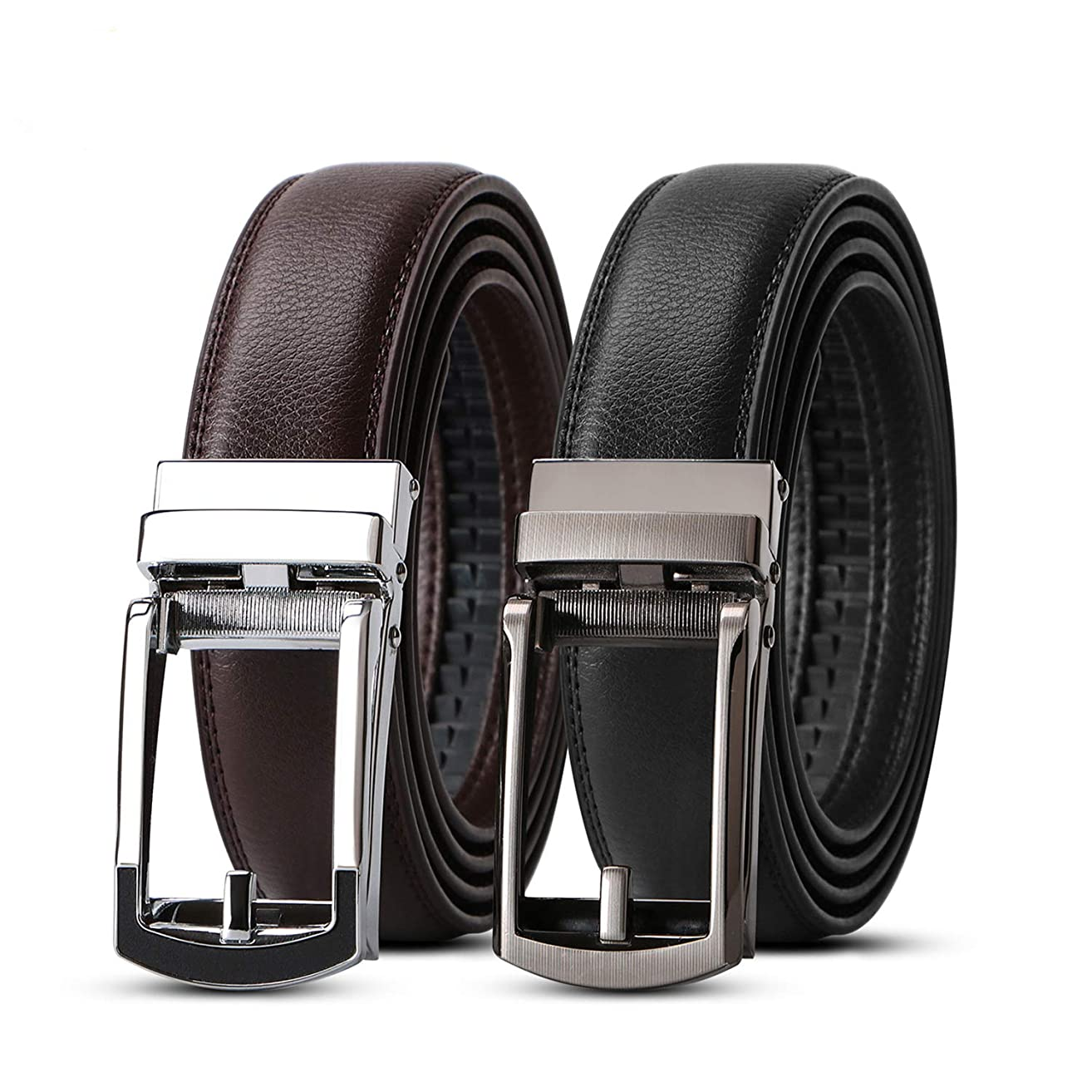 WERFORU 2 Pack Leather Ratchet Dress Belt for Men Perfect Fit Waist Size Up to 44inches with Automatic Buckle