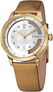 Stuhrling Original Women's 946L.03 Analog Winchester Quartz Swarovski Crystal 23k Gold-Layered Case Champagne Genuine Leather Strap Watch