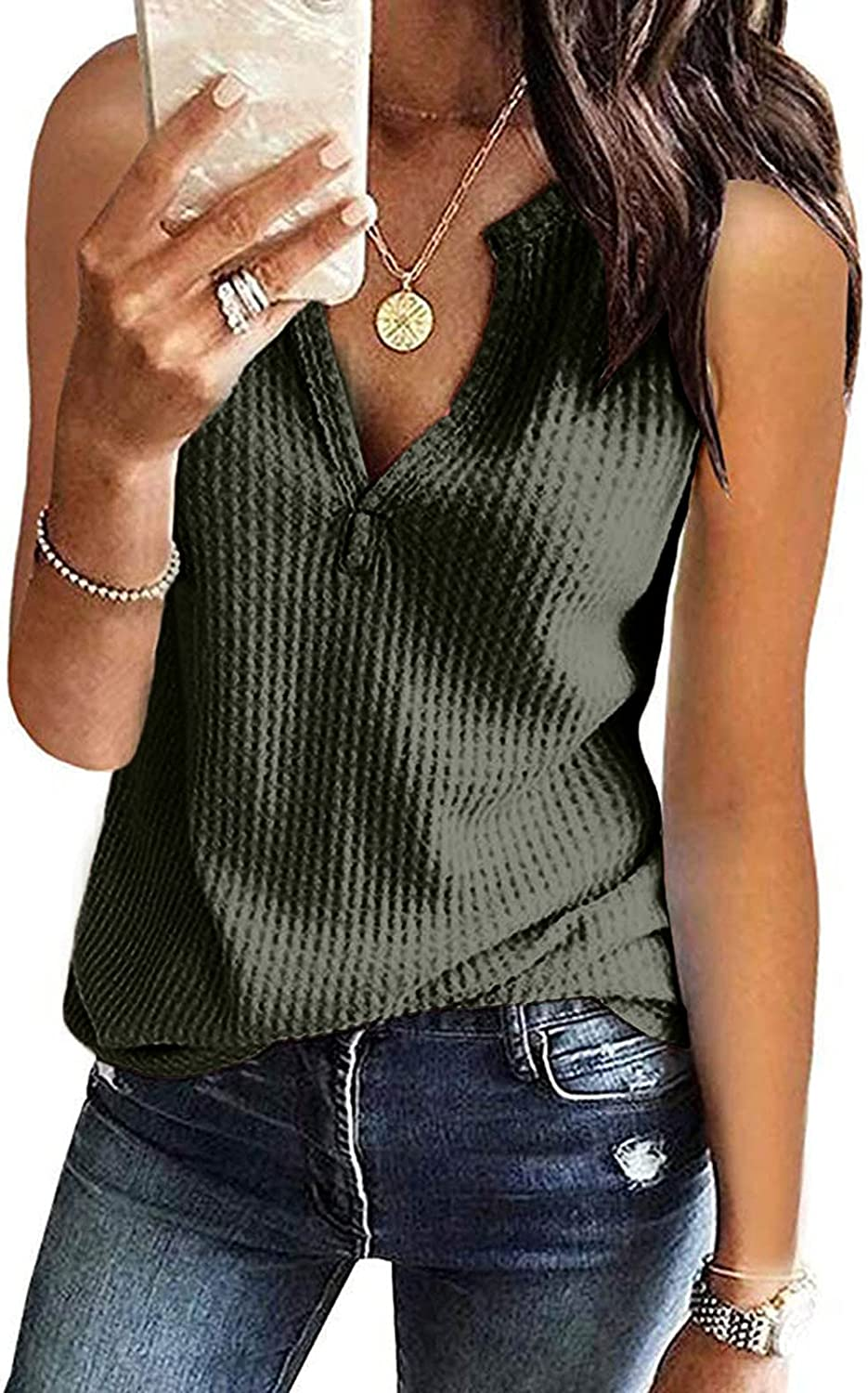 Summer Tank Tops for Women Casual V Neck Waffle Knit Tunic Tops Henley Sleeveless Button Up Shirts Loose Blouses Vests