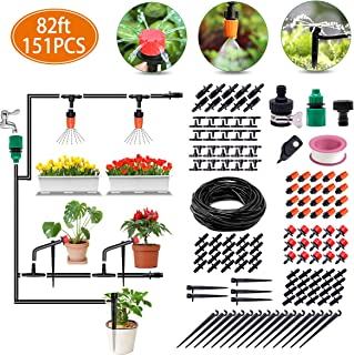 Irrigation System, 82ft Drip Irrigation Kit DIY Micro Automatic Watering System with 1/4 Inches Blank Distribution Tubing Hose Adjustable Saving Water Dripper Sprinkler Set for Garden, Greenhouse