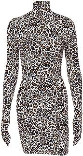 Mayunn Women Cotton Sexy Long Sleeve Leopard Print Leopard Gloves Skinny Dress Mini Club Dress