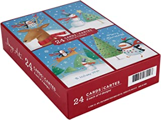 Image Arts Boxed Christmas Cards Assortment, Christmas Penguin with Holiday Friends (4 Designs, 24 Cards with Envelopes)