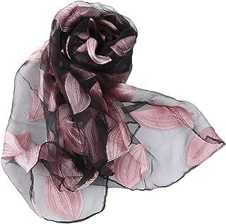 EJY Pink Women Leaf Chiffon Scarf Headwrap Stoles