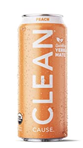 Peach Sparkling Yerba Mate - Organic, Low Calorie & Low Sugar (160mg Caffeine), 16oz cans, 12-pack - CLEAN Cause - 50% Profits Support Alcohol & Drug Addiction Recovery