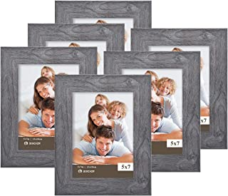 Boichen 5X7 Picture Frames 6 Pack Rustic Style Wood Pattern High Definition Glass for Tabletop Display and Wall mounting Photo Frame