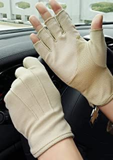 YLucky Lightweight Summer Fingerless Gloves Men Women UV Sun Protection Driving Cotton Gloves Antislip Breathable Touchscreen Gloves